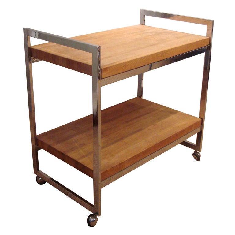 1970's Italian Modernist Chrome and Wood Bar Cart