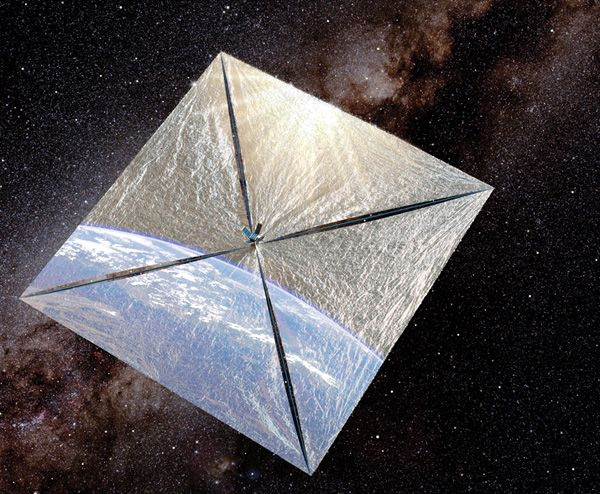 An artist's concept of The Planetary Society's LightSail spacecraft orbiting the Earth.