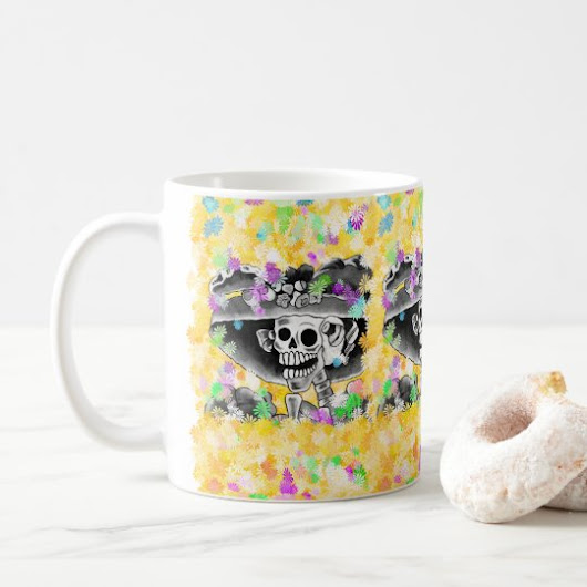 Laughing Skeleton Woman in Bonnet Coffee Mug
