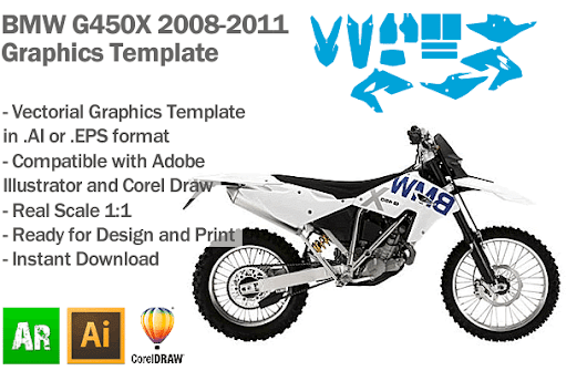BMW G450X Enduro 2008 2009 2010 2011 Graphics Template - Artabrian - Motocross MX Graphic Templates