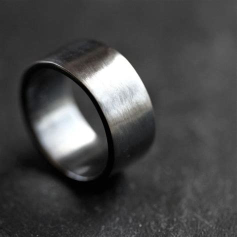 Men's Silver Wedding Band, 10mm Wide, Simple Flat Band