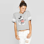 petiteWomen's Disney Mickey Mouse Short Sleeve Cropped T-Shirt (Juniors') - Heather Gray