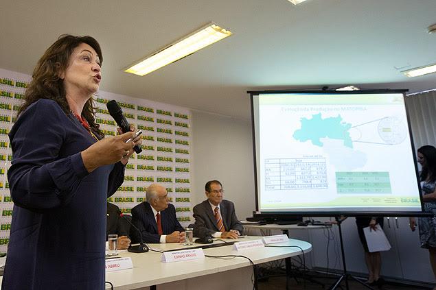 A ministra da Agricultura, Kátia Abreu, em apresentação sobre escoamento de safra