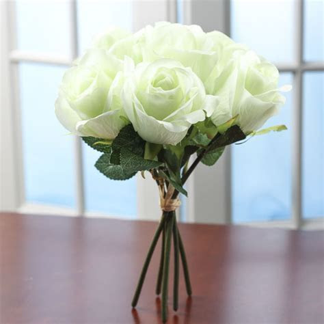 Soft Pale Green Artificial Rose Bundle   Wedding Florals