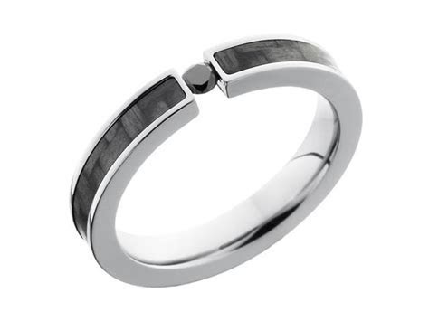 4mm Titanium Ring With Carbon Fiber Inlay and Tension Set