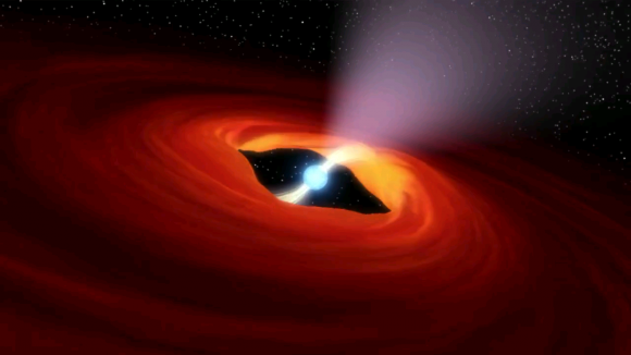 An illustration [click for video] of a rotation neutron star, the remnants of a super nova explosion has been found to be an ultraluminous X-ray source, the first of its kind. (Credit: NASA, Caltech-JPL)