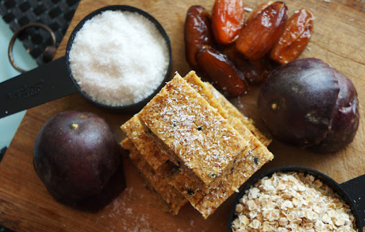"Tropical Passion Fruit and Coconut Energy Bars, the perfect ""pick me up"" 