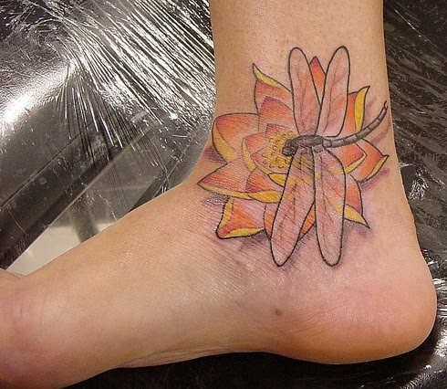 Lotus Flower And Dragonfly Ankle Tattoo