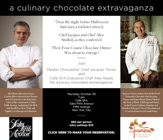 Jacques Torres & Café SFA Executive Chef Alex Reyes to create Chocolate Dinner on Halloween Eve | Lawlor Media Group