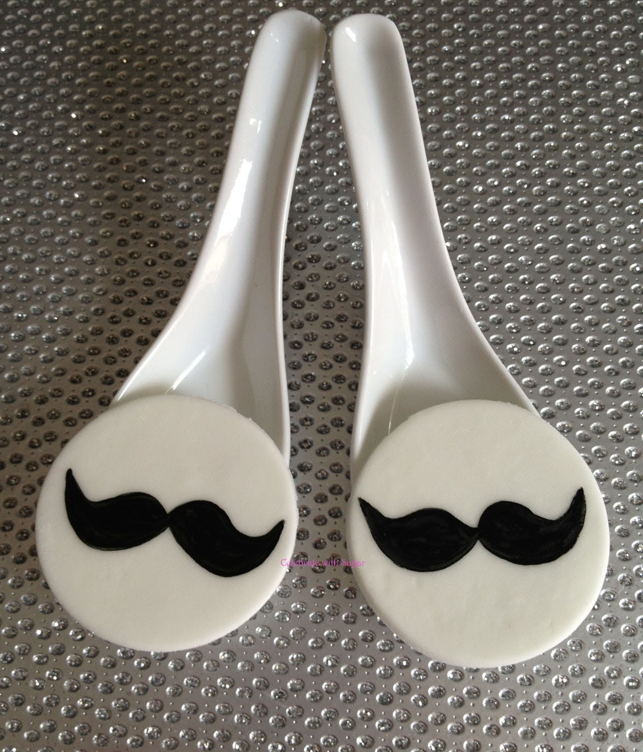 Edible Mustache Cupcake Topper in Fondant great for Birthdays, Weddings, Showers and more