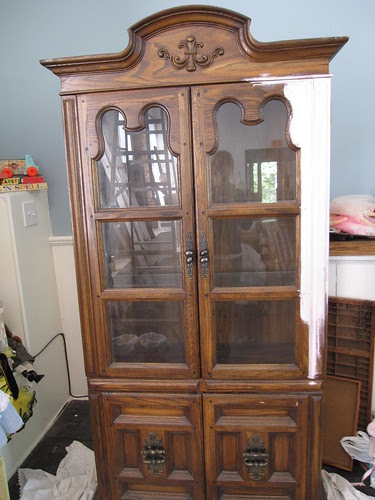 Un-Finished China Cabinet w/some paint