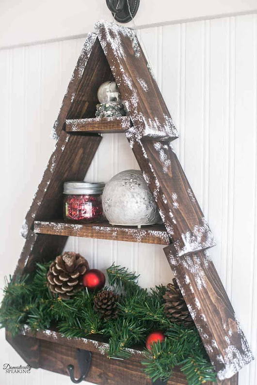 DIY Snowy Rustic Christmas Tree Shelf