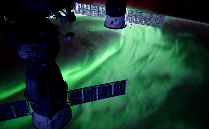 Still image shows a stunning aurora captured from the International Space Station. This frame is from a compilation of ultra-high definition time-lapses of the aurora shot from the space station.  Credit: NASA
