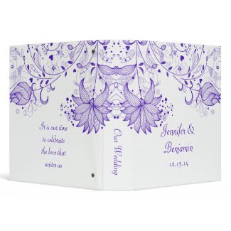 Purple Sketched Flowers on White Photo Album
