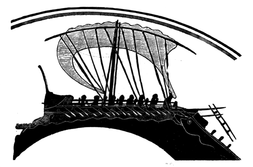 Greek bireme. About 500 B.C.