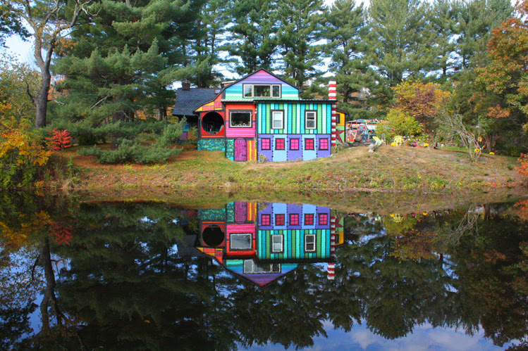 Artist Kat O'Sullivan Transforms a Dull Shack Into a Psychedelic Rainbow House rainbows psychedelic home architecture