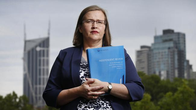 Victorian Equal Opportunity and Human Rights Commissioner Kate Jenkins with the review into sex discrimination and harassment in Victoria Police. Picture: David Caird