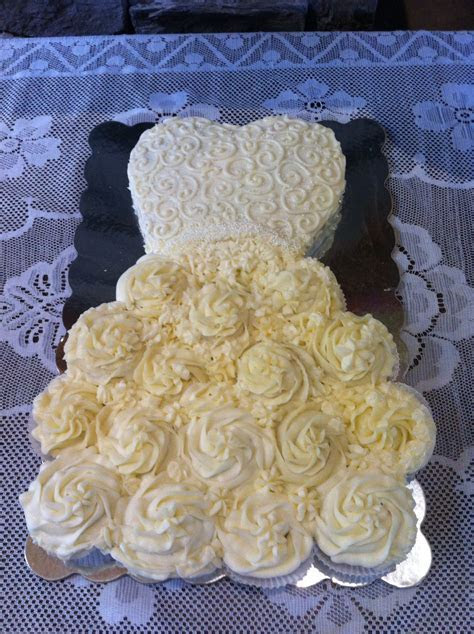 Cupcake pull apart wedding dress cake slightly different