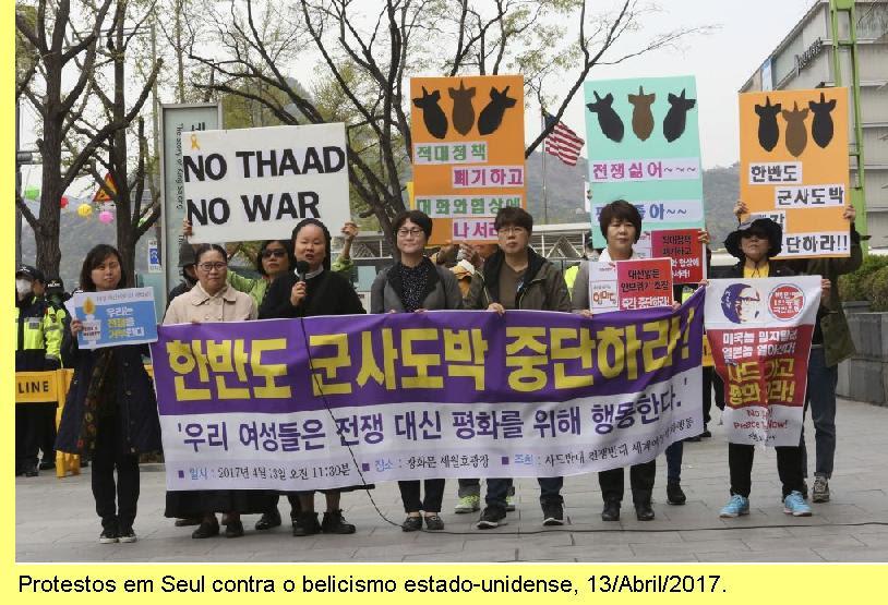 Protestos na capital da Coreia do Sul contra o belicismo trumpiano.