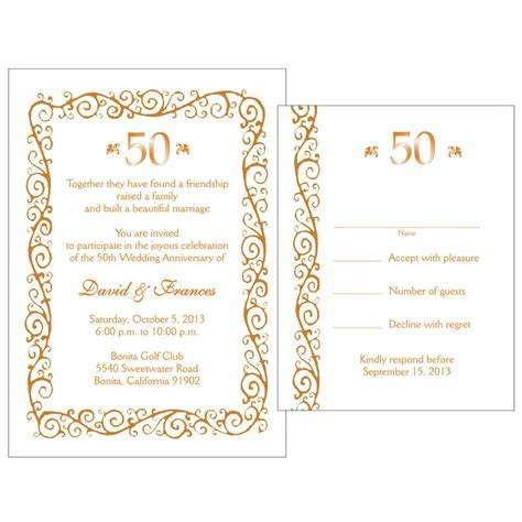 25 Personalized 50th Golden Anniversary Invitations w