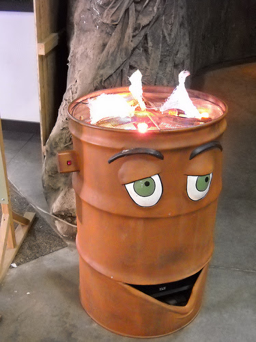 Anthropomorphized burning trash can