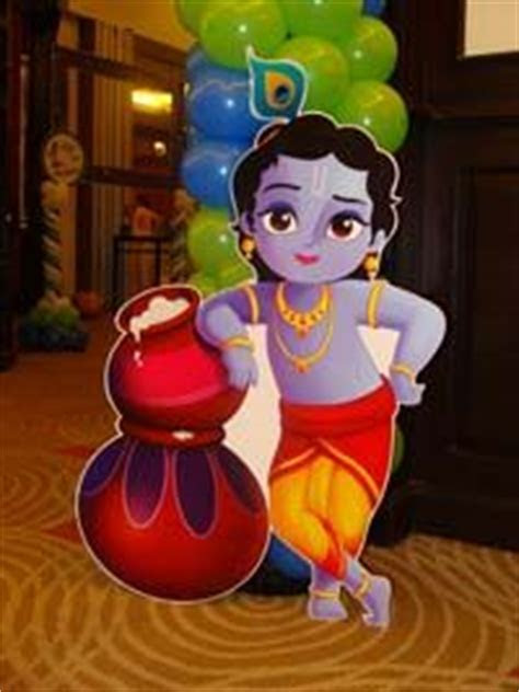 Little Krishna theme with butter pots poster   Untumble.com