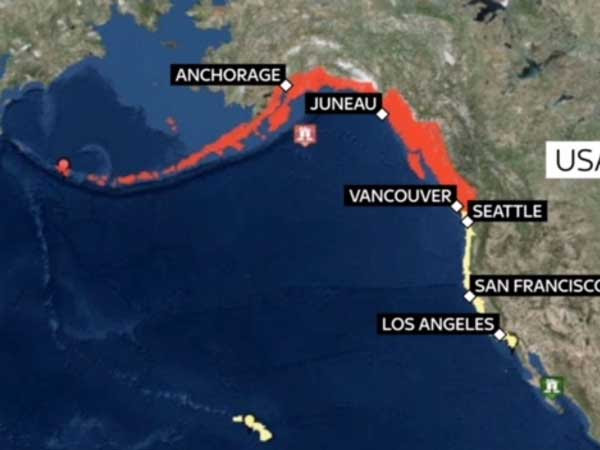 the earthquake occurred 175 miles  281 6 km  southeast of kodiak city
