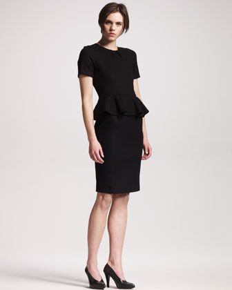 Jil Sander Wool-Jersey Peplum Dress