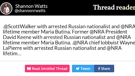 "Thread by @shannonrwatts: "".@ScottWalker with arrested Russian nationalist and @NRA lifetime member Maria Butina. Former @NRA President David Keene with arrested Russi […]"""