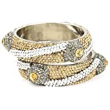Chamak by priya kakkar 2 Bangle Bracelet Encrusted with Crystal Raised Flowers