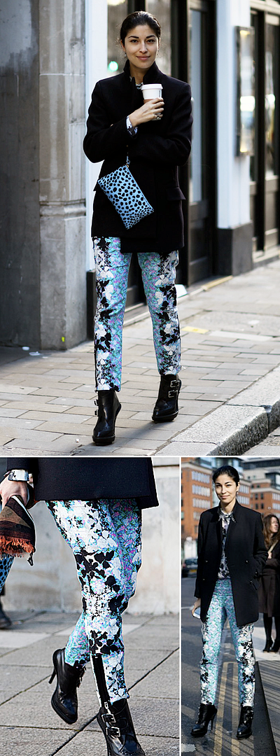 CAROLINE ISSA TANK MAGAZINE EDITOR STREET STYLE FASHION WEEK SPORTMAX FLORAL PRINT PANTS TROUSERS ANKLE ZIPS ZIPPER MID LENGTH COAT PRINT BLOUSE SHIRT STUDDED COLLAR PHI CREEPER BOOTS BLUE LEOPARD CLUTCH CLUB MONACO TOMMY TON MESSENGER SATCHEL BAG