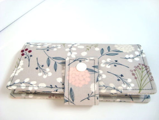 Fabric Checkbook Cover Checkbook Holder Berry Floral