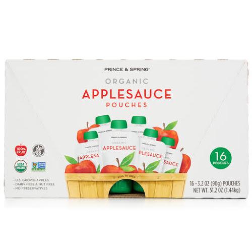 Prince & Spring Organic Applesauce Pouches - 16 x 3.2 oz