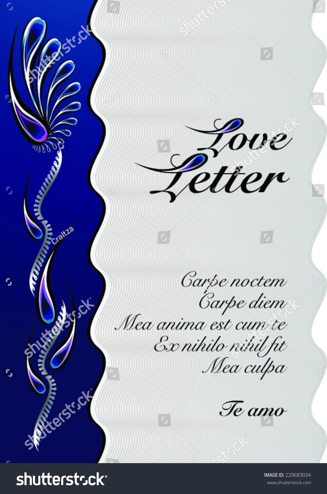 Love Letter Decorated Letterhead Template Editable Stock Vector ...