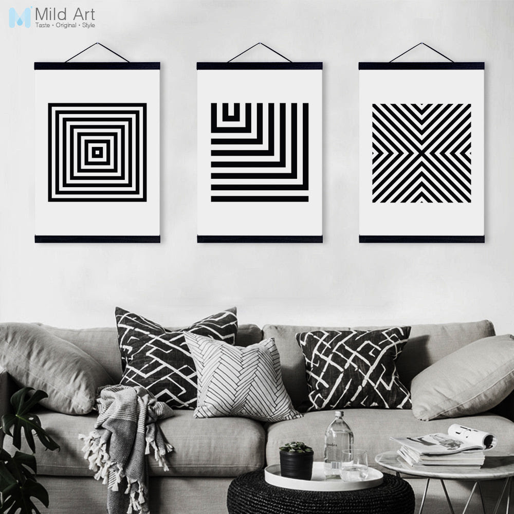 Black White Minimalist Geometric Wooden Framed Canvas Paintings Modern Nordic Home Decor Wall Art Print Pictures Poster Scroll