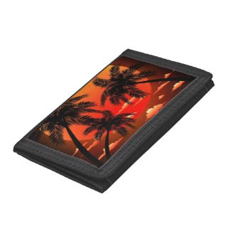 Warm Topical Sunset and Palm Trees wallet