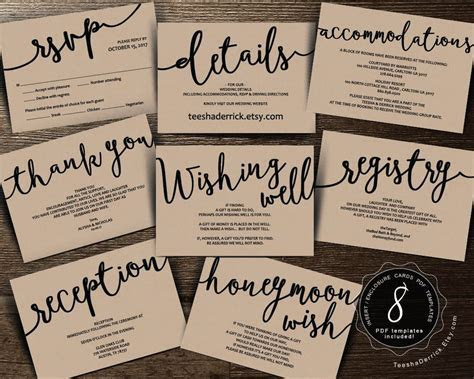 Wedding Insert cards PDF template (Instant download