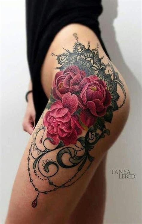 watercolor rose thigh tattoo ideas mybodiartcom