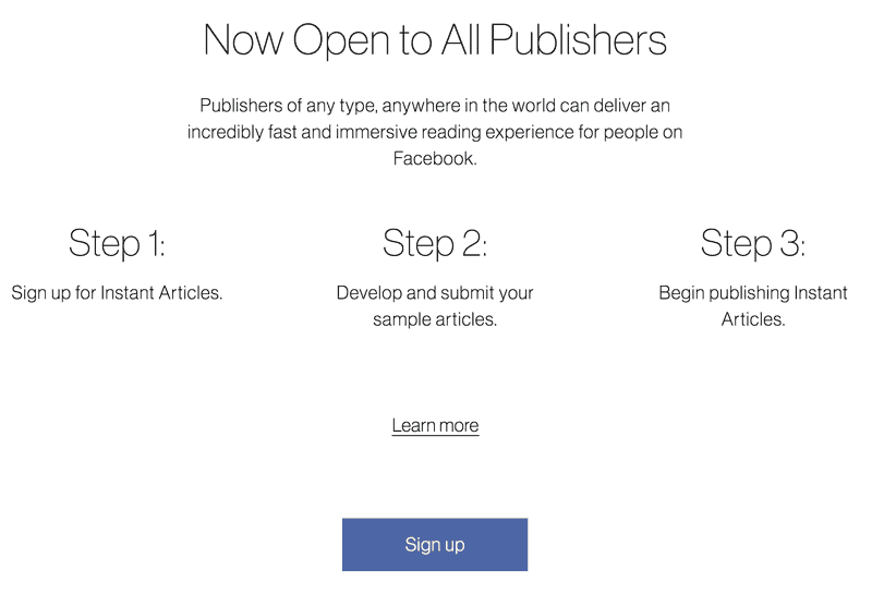 Facebook Instant Articles Signup