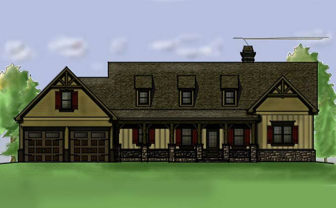 Vacation Home Plan with walkout basement and porches