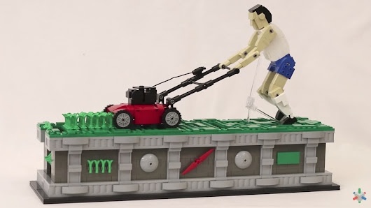 A LEGO lawn mower man endlessly cuts the grass | The Kid Should See This
