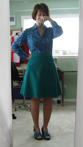 Green cord skirt mirror image