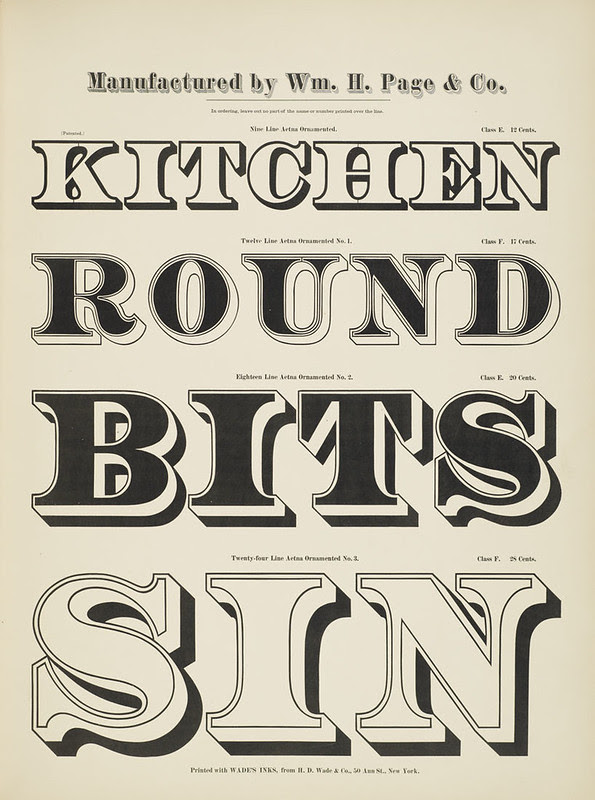 Specimens of chromatic wood type, borders 1874 - [via Columbia U] (Kitchen + Round + Bits + Sin) Aetna ornamented type
