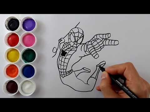 örümcek Adam Boyama Oyunları Eğitici çocuk Videoları Boyama