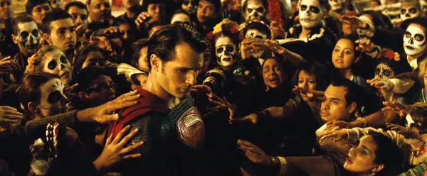 The Man of Steel is surrounded by his followers in this scene from the BATMAN V SUPERMAN: DAWN OF JUSTICE Comic-Con trailer.