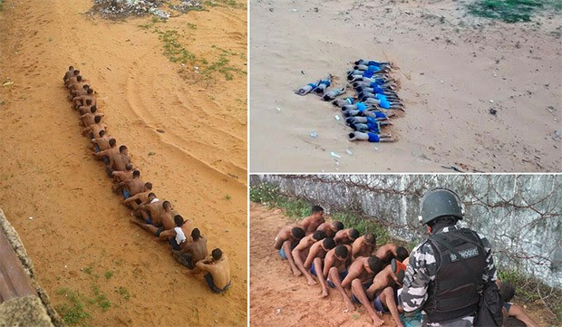 Dezenove presos, que já estavam fora do pavilhão, foram impedidos de escapar por policiais da Força Nacional e BPChoque (Foto: Divulgação/PM)