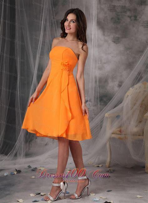 Mandarin Orange Short Dress for Prom Handle Flowers  New
