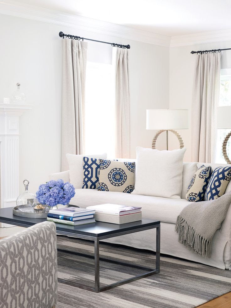 blue + white living room