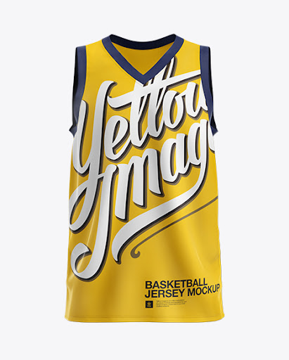 Free Basketball Jersey with V-Neck Mockup - Front View (PSD)