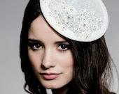 LADY ANGELIA - Wedding Fascinator, Bridal Hat, Bridal, bridal Fascinator, Crystal Bridal Fascinator, Lace Fascinator, Seen in Wedding Bells